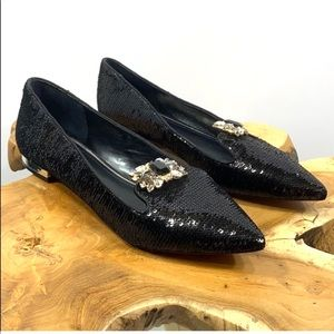 White House Black Market Pointed Toe Sequin Flats